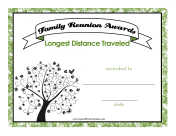 Farthest Travelled Family Reunion Tree