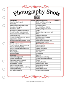 Wedding Planner Shot List