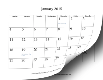 2015 12-Month Calendar OpenOffice Template