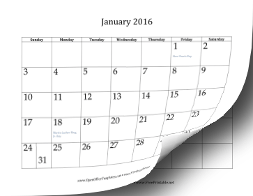 2016 12-Month Calendar OpenOffice Template