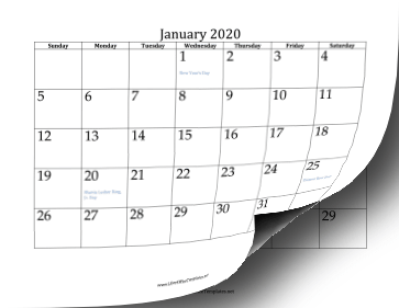 2020 Twelve-Month Calendar OpenOffice Template