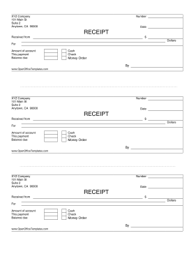 3-up Payment Receipts OpenOffice Template