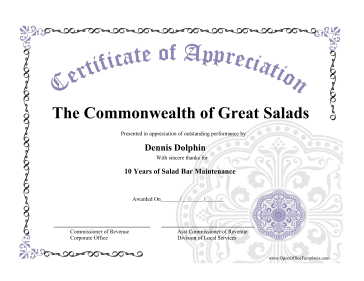 Certificate Of Appreciation OpenOffice Template  Free Appreciation Certificate Templates