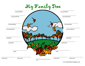 Autumn Family Tree OpenOffice Template