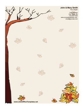 Autumn Unlined Stationery OpenOffice Template