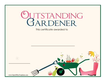 Award For Gardening OpenOffice Template