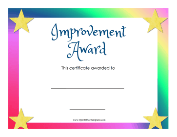 Award For Improvement OpenOffice Template