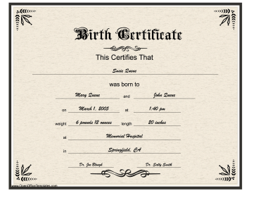 Birth Certificate Gothic Lettering OpenOffice Template Photo Gallery