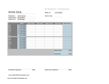 Biweekly Timesheet No Breaks OpenOffice Template