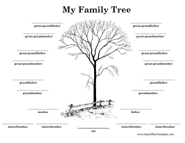 Black-and-White Family Tree OpenOffice Template