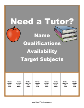 Blackboard Tutoring Flyer OpenOffice Template