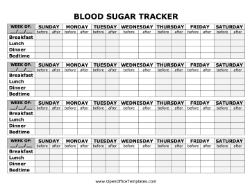 blood sugar weekly tracker bold openoffice template