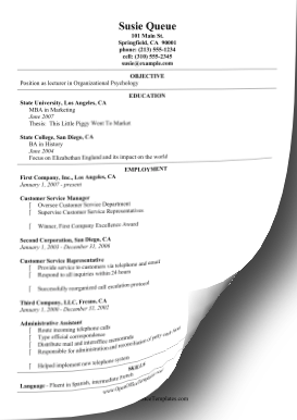 Chronological CV OpenOffice Template