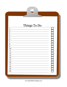 Clipboard To Do List OpenOffice Template