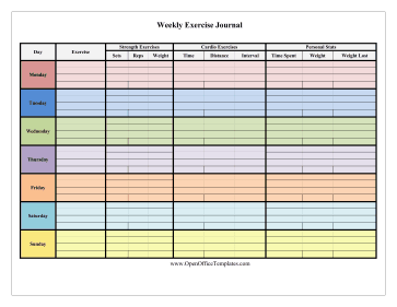 colorful 7 day exercise log openoffice template