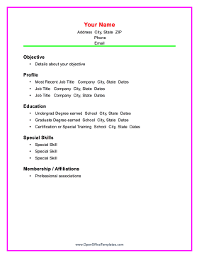 Colorful Chronological Resume OpenOffice Template