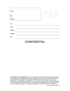 Confidential Fax Cover Sheet OpenOffice Template  Fax Cover Letter Templates