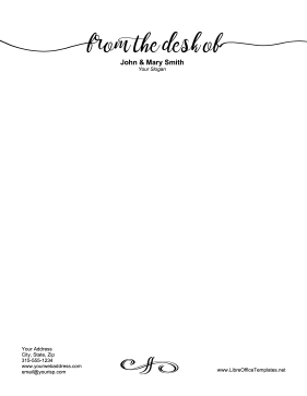 Desk Of Letterhead OpenOffice Template