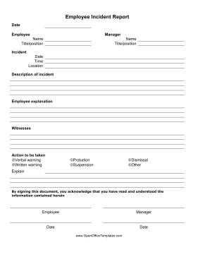 Employee Incident Report Form OpenOffice Template. Download Free OpenOffice  Template