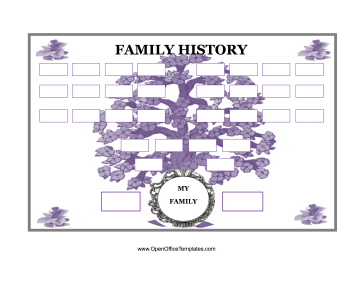 Family Tree with Purple Flowers OpenOffice Template