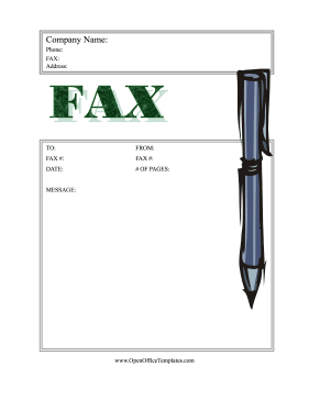 Fax Coversheet Stylus Pen OpenOffice Template  Free Fax Cover Sheet Printable