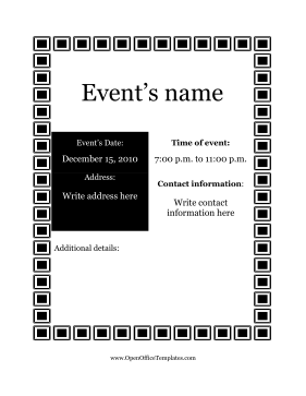 Flyer for Events OpenOffice Template
