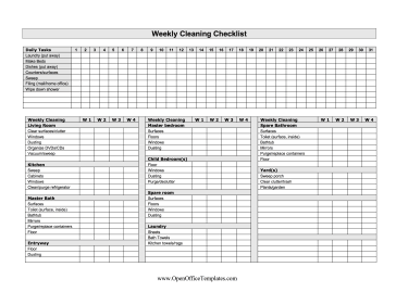 Four-Week Cleaning Checklist OpenOffice Template