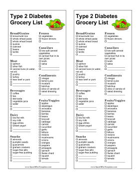 graphic relating to Printable Grocery List by Category identify Grocery Record Fashion 2 Diabetic issues - OpenOffice template