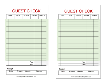 Guest Check OpenOffice Template