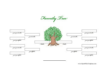 Illustrated 4-Generation Family Tree OpenOffice Template