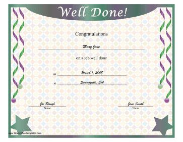Job Well Done Certificate OpenOffice Template