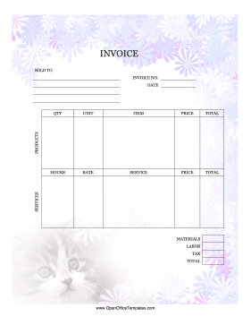 Kitten Invoice OpenOffice Template