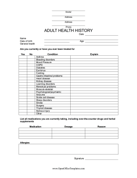 Medical History Form OpenOffice Template