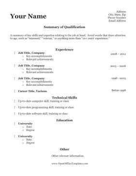 Older Applicant Resume OpenOffice Template