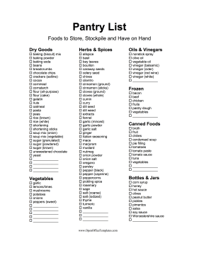 Pantry Inventory Checklist OpenOffice Template