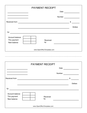 Payment Receipt OpenOffice Template