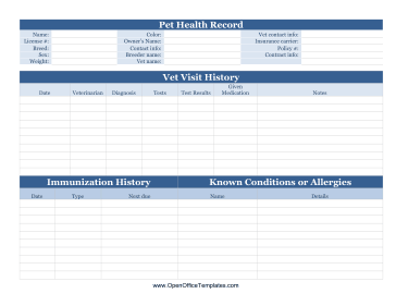dog health record template - pet health record openoffice template