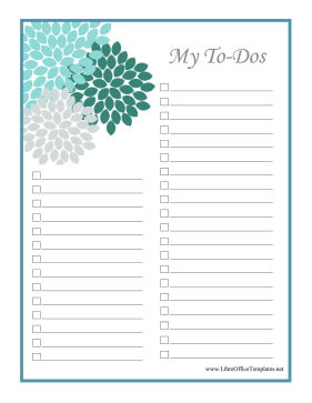Pretty Flowers To Do List OpenOffice Template