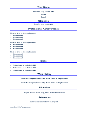 professional resume openoffice template - Resume Templates For Openoffice