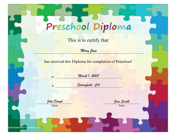 Puzzle Piece Diploma OpenOffice Template