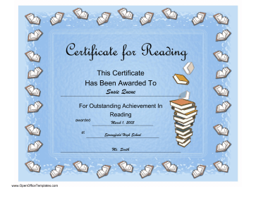 Reading Achievement Certificate OpenOffice Template