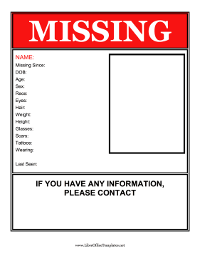 Red Missing Person Flyer OpenOffice Template