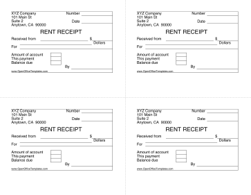 Rent Receipt 4 Per Page OpenOffice Template