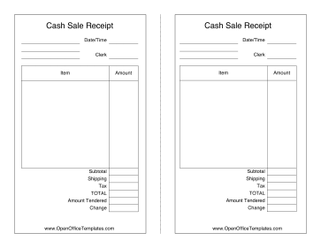 Sales Receipt OpenOffice Template