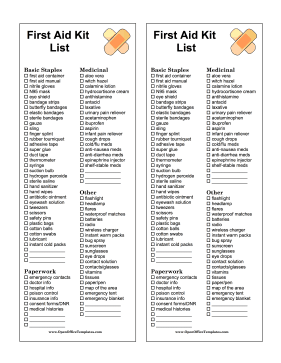 Shopping List First Aid OpenOffice Template