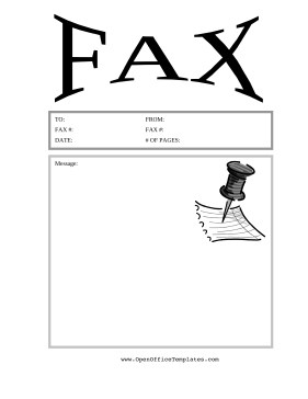 Thumbtack Fax Cover Sheet OpenOffice Template