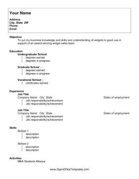 University Student Resume OpenOffice Template