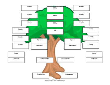 Upside Down Family Tree 3 Generations OpenOffice Template