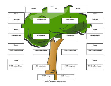Upside Down Family Tree 6 Generations OpenOffice Template