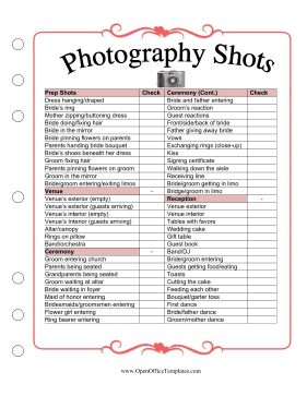 Wedding Planner Shot List OpenOffice Template